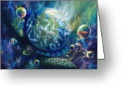Surreal Art Painting Greeting Cards - Pangaea Greeting Card by Kd Neeley