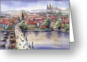 Watercolour Greeting Cards - Panorama with Vltava river Charles Bridge and Prague Castle St Vit Greeting Card by Yuriy  Shevchuk