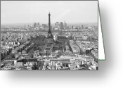 Monochrome Mixed Media Greeting Cards - Panoramic Eiffel Tower Greeting Card by Louise Fahy
