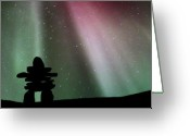 Inuksuk Greeting Cards - Panoramic Inukshuk Northern Lights Greeting Card by Mark Duffy