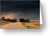 Strike Greeting Cards - Panoramic Lightning Storm in the Prairie Greeting Card by Mark Duffy