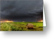 Storm Digital Art Greeting Cards - Panoramic Lightning Storm in the Prairies Greeting Card by Mark Duffy