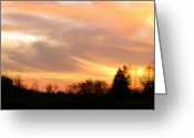 Shining Sun Kiss Mountains Greeting Cards - Panoramic Sunset Greeting Card by Debra     Vatalaro