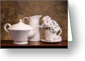 Kettle Greeting Cards - Panoramic Teapot with Daisies Greeting Card by Tom Mc Nemar