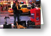 Panpipes Greeting Cards - PanPipes on Times Square Greeting Card by RL Rucker