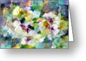 Live Art Mixed Media Greeting Cards - Pansies Greeting Card by Don  Wright