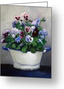 Flower Still Life Prints Painting Greeting Cards - Pansies Greeting Card by Enzie Shahmiri