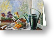 Pflanzen Greeting Cards - Pansies For My Window Box Greeting Card by Barbara Pommerenke
