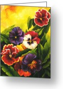 Dominica Alcantara Greeting Cards - Pansies or Vuela mis pensamientos Greeting Card by Dominica Alcantara