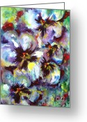 Tricolor Greeting Cards - Pansies Greeting Card by Zaira Dzhaubaeva