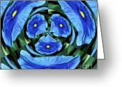Blue Petals Greeting Cards - Pansy in Triplicate Greeting Card by Kaye Menner