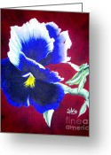 Acrylic Tapestries - Textiles Greeting Cards - Pansy Greeting Card by Sylvie Heasman