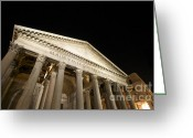 Night Time Greeting Cards - Pantheon at night. Rome Greeting Card by Bernard Jaubert