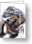 Sports Art Painting Greeting Cards - Panthers vs Saints Greeting Card by Torben Gray
