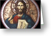 Byzantine Icon Greeting Cards - Pantocrator Greeting Card by Iosif Ioan Chezan