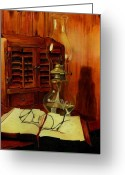 Oil Lamp Greeting Cards - Papa Joes Bible Greeting Card by Diana Weems