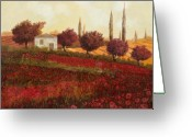 Hill Painting Greeting Cards - Papaveri In Toscana Greeting Card by Guido Borelli