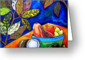Tropical Beach Painting Greeting Cards - Papaya Morning Greeting Card by Patti Schermerhorn