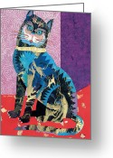 Abstract Realism Painting Greeting Cards - Paper Cat Greeting Card by Bob Coonts