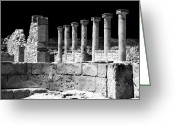 Ancient Prints Greeting Cards - Paphos Columns Greeting Card by John Rizzuto