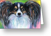 Dog Prints Greeting Cards - Papillon dog painting Greeting Card by Svetlana Novikova