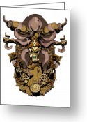 Steampunk Greeting Cards - Papillon mecaniques Greeting Card by Brian Kesinger