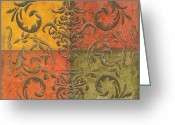 Maps Greeting Cards - Paprika Scroll Greeting Card by Debbie DeWitt
