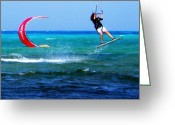 Action Sports Prints Greeting Cards - Para surfing in Cozumel Mexico Greeting Card by Danielle  Parent