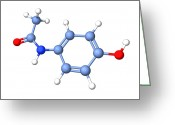 Compound Greeting Cards - Paracetamol Molecule Greeting Card by Dr Tim Evans