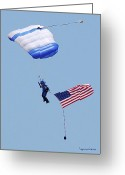 Balloon Fest Greeting Cards - Parachutist With American Flag Greeting Card by DigiArt Diaries by Vicky Browning