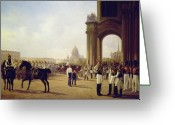 Adolphe Greeting Cards - Parade at the Palace Square in Saint Petersburg Greeting Card by Adolphe Ladurner