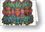 American Reliefs Greeting Cards - Paradise Greeting Card by Anna  Arnold