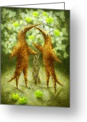 Infantile Greeting Cards - Paradise Apples Greeting Card by Lolita Bronzini