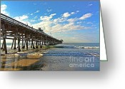 San Clemente Pier Greeting Cards - Paradise at the Pier Greeting Card by Traci Lehman
