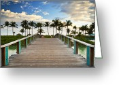 Path Greeting Cards - Paradise Beach Tropical Palm Trees Islands Summer Vacation Greeting Card by Dave Allen