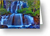 Canadian Rockies Greeting Cards - Paradise Falls Greeting Card by Scott Mahon