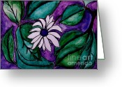 Purples Mixed Media Greeting Cards - Paradise Flower Greeting Card by Marsha Heiken