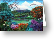 Lake With Reflections Greeting Cards - Paradise Found Greeting Card by Sarah Hornsby