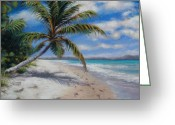 Ocean Landscape Pastels Greeting Cards - Paradise Found Greeting Card by Susan Jenkins