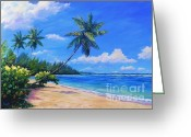Bay Islands Painting Greeting Cards - Paradise palms Greeting Card by John Clark
