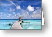 French Polynesia Greeting Cards - Paradise Pier Greeting Card by Monica and Michael Sweet