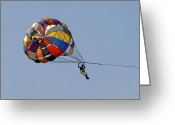 Drifter Greeting Cards - Paraglider Blue Greeting Card by Kantilal Patel