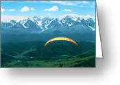 Ram Air Greeting Cards - Paraglider Greeting Card by Elena Filatova