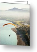 Railroad Track Greeting Cards - Paragliding Off Killiney Hill Greeting Card by David Soanes Photography