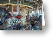 Hull Ma Greeting Cards - Paragon Carousel Nantasket Beach Greeting Card by Barbara McDevitt