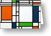 Chic Greeting Cards - Parallel Lines Composition with Blue Green and Orange in Opposition Greeting Card by Oliver Johnston