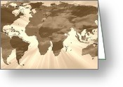 Earth Map Greeting Cards - Parallel Worlds World Map 2 Greeting Card by Georgeta  Blanaru