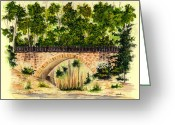 Parapet Greeting Cards - Parapet Bridge - Mill Creek Park Greeting Card by Michael Vigliotti