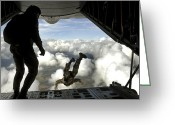 Airplane Greeting Cards - Pararescuemen Jump Out The Back Greeting Card by Stocktrek Images
