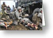 Amputee Greeting Cards - Pararescuemen Prepare To Transport Greeting Card by Stocktrek Images